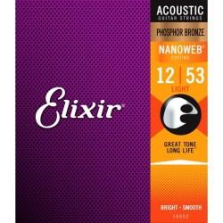 ACOUSTIC GUITAR STRINGS SET ELIXIR PHOSPHOR BRONZE NANOWEB 12 53