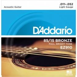 ACOUSTIC GUITAR STRINGS SET D ADDARIO EZ910 0.11 / 0.52 85/15 BRONZE LIGHT GAUGE