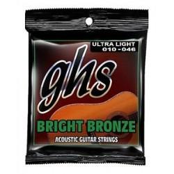 ACOUSTIC GUITAR STRINGS SET GHS 010- 046 ULTRA LIGHT BRIGHT BRONZE