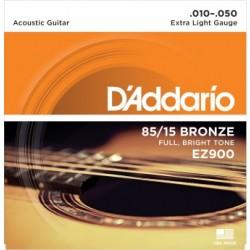 ACOUSTIC GUITAR STRINGS SET D ADDARIO EZ900 85/15 BRONZE 0.10 / 0.50 EXTRA LIGHT GAUGE