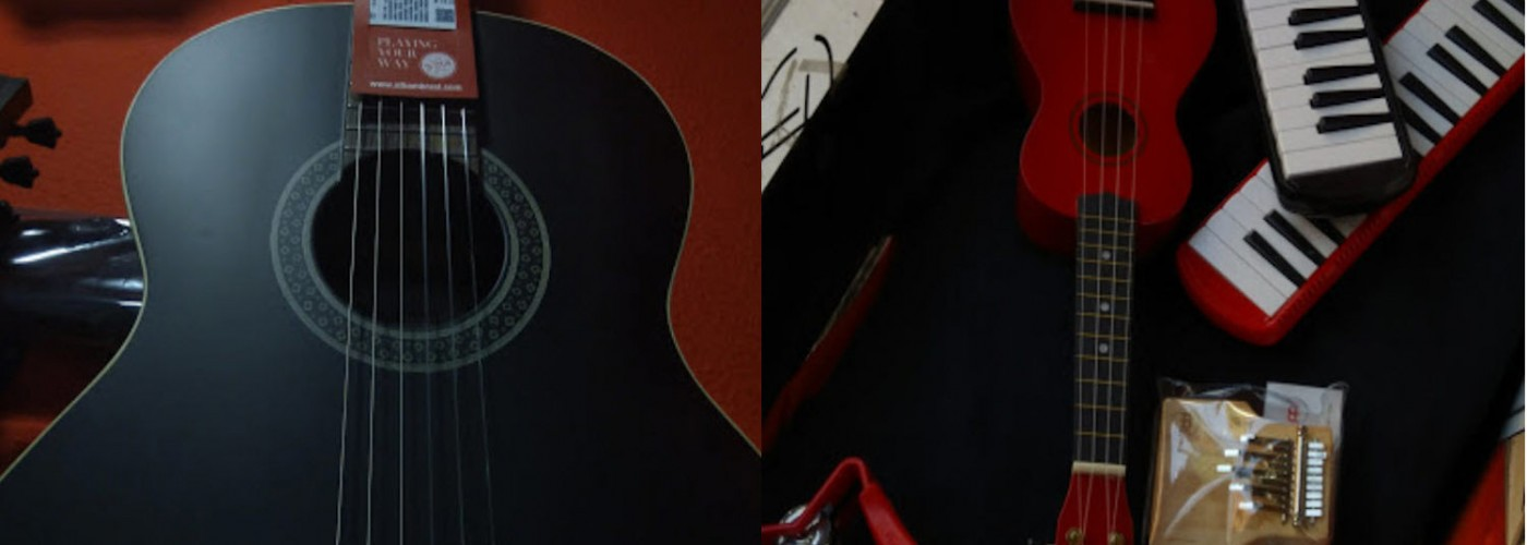 Photo split in half. Left Guitar. Right Guitar and harmonies